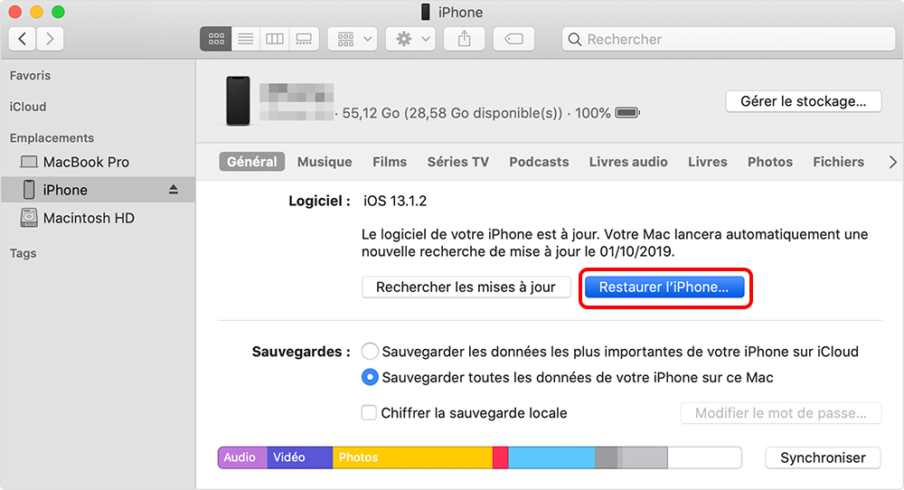 restaurer iPhone sur iTunes