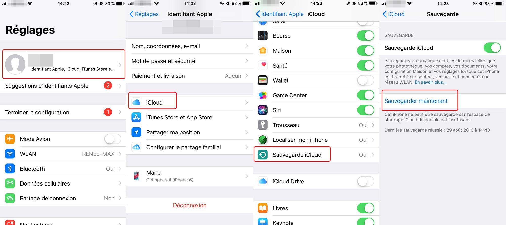 sauvegarder les données sur iCloud