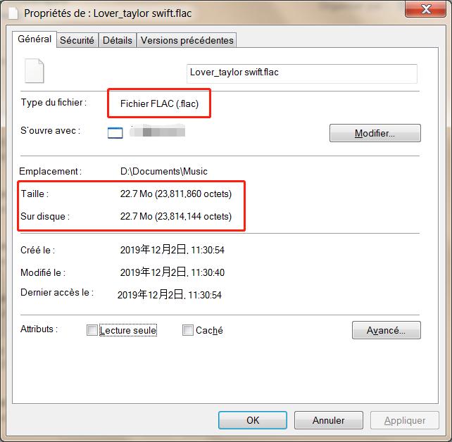 la taille de fichier FLAC est volumineux