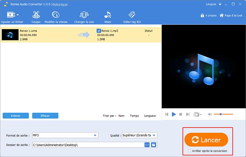 la conversion WMA en MP3 se termine avec succès