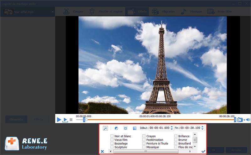 ajouter les filtres à la vidéo