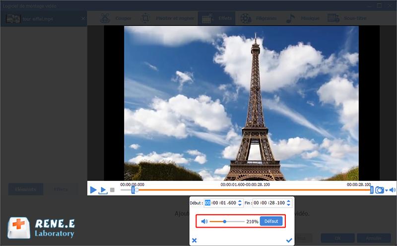 ajouter les effets de volume à la vidéo