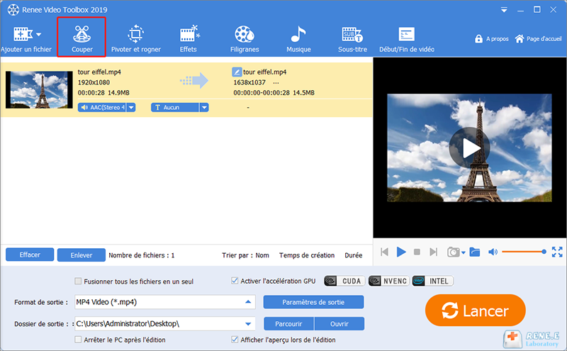 la fonction Couper de Renee Video Editor Pro