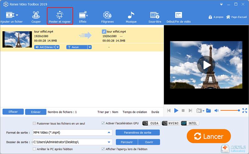 la fonction de Pivoter et rogner sur Renee Video Editor Pro