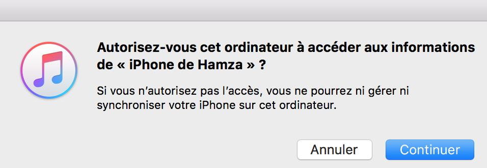 autoriser l'accès aux informations de l'iPhone