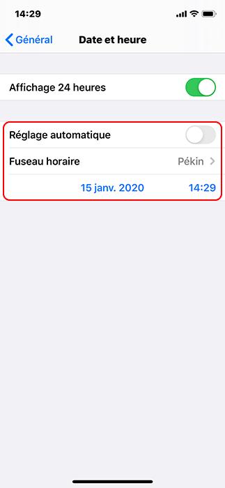 modifier manuellement l'heure sur iPhone