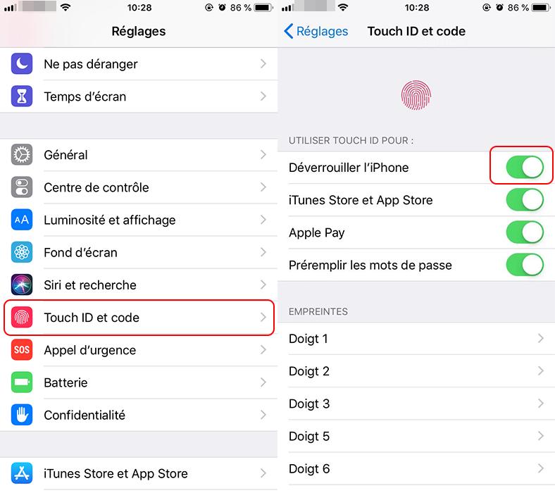 activer la fonction Touch ID sur iPhone