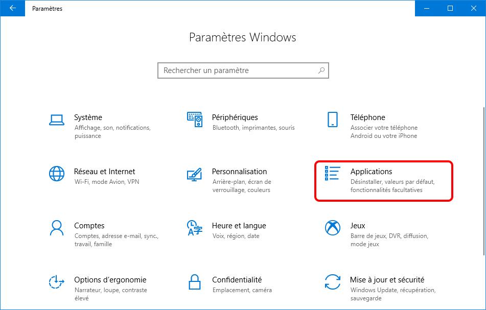 ouvrir Application sur Windows