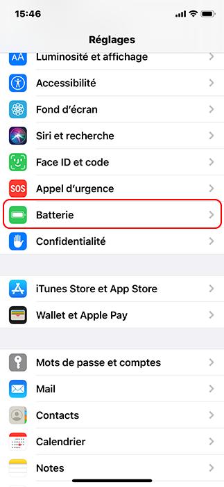 cliquer sur batterie sur iPhone