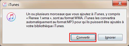 cliquer sur Convertir pour terminer la conversion du fichier WMA en MP3