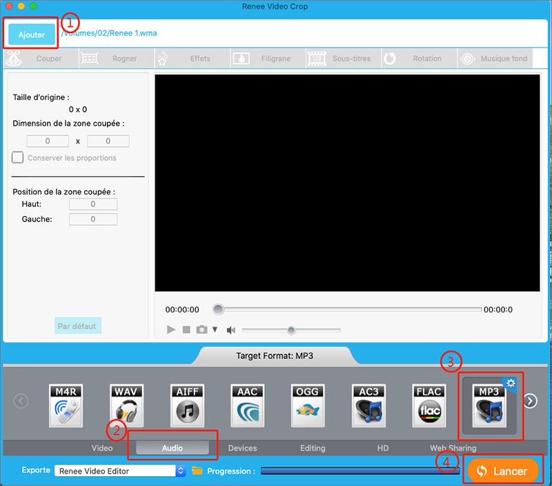 convertir le fichier WMA en MP3 avec Renee Video Editor sous Mac