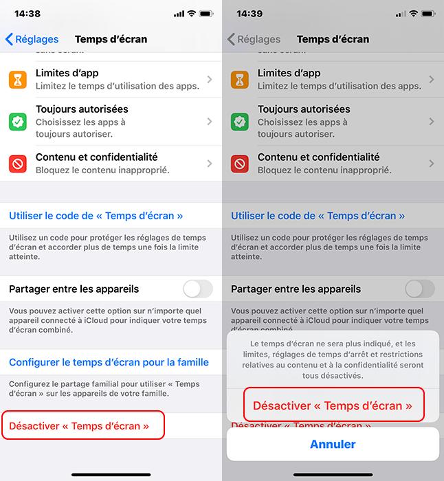 désactiver Temps d'écran sur iPhone