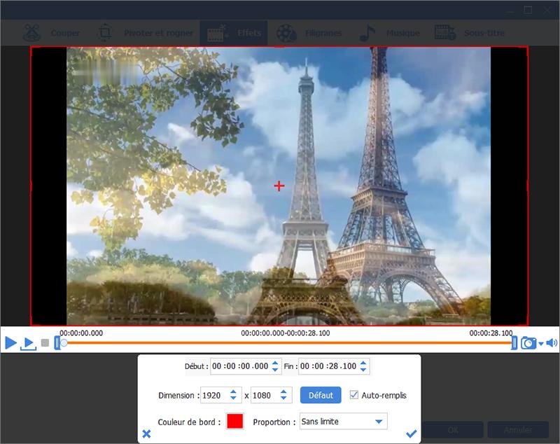 ajouter l'effet de zoom à la vidéo
