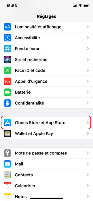 cliquer sur iTunes Store et App Store