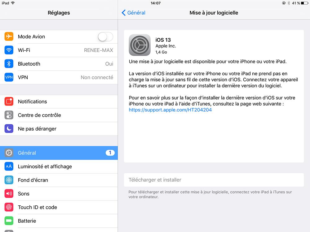 effectuer la mise à jour logicielle sur iPad