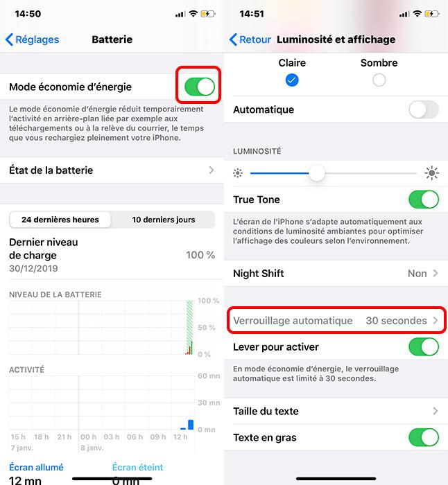 le mode économie d'énergie sur iPhone