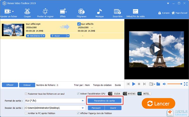 régler les paramètres de sortie et le meilleur format vidéo
