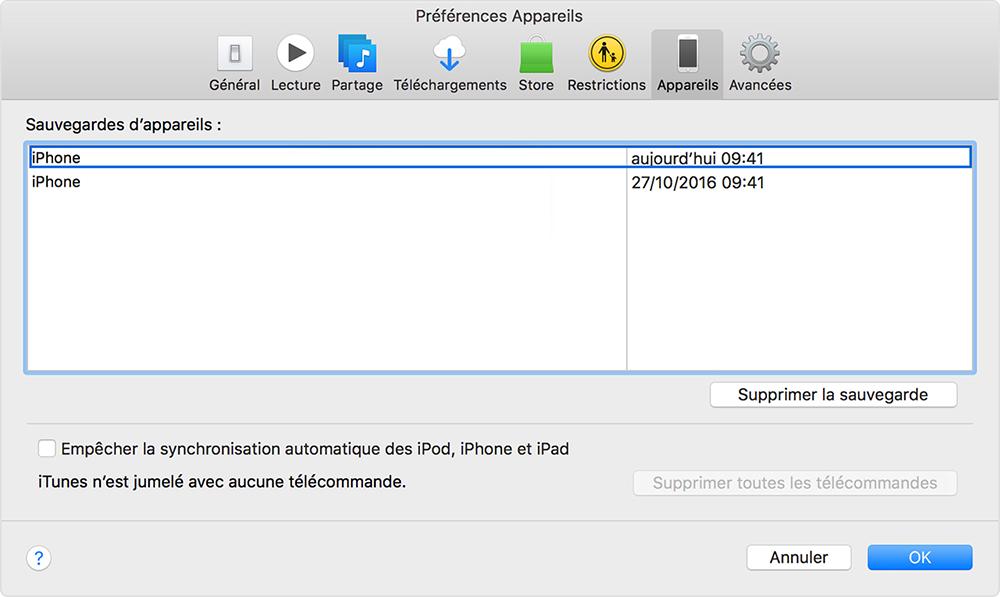 vérifier les fichiers de sauvegarde sur iTunes