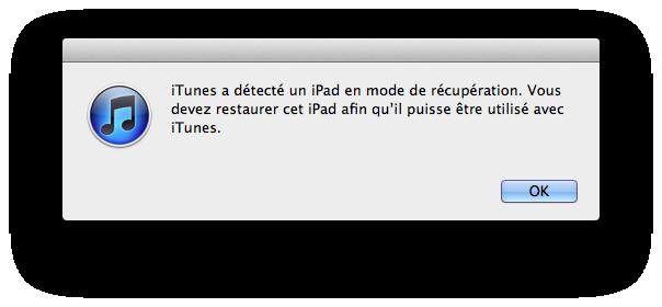 iPad en mode de récupération