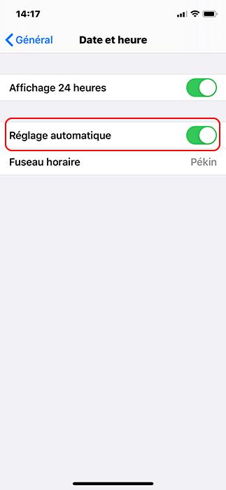 activer le réglage automatique sur iPhone