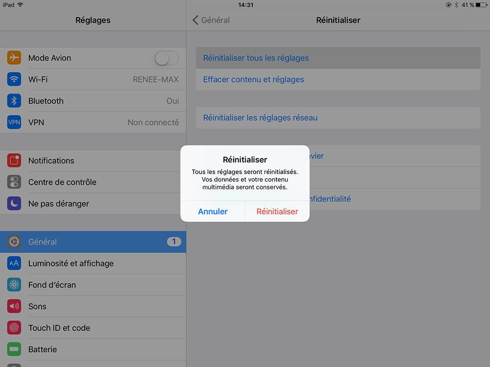 réinitialiser les réglages de l'iPad