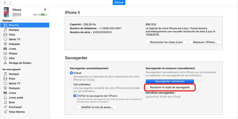 restaurer la sauvegarde depuis iTunes