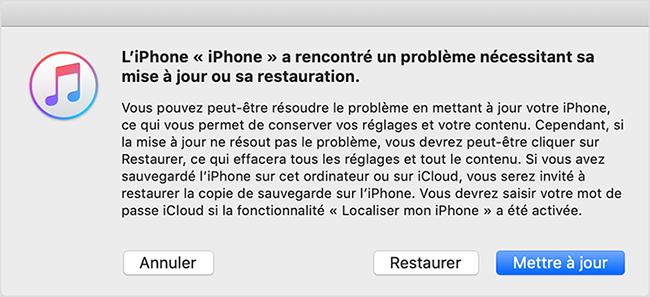 restaurer ou mettre à jour iPhone sur iTunes