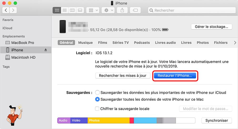 restaurer les données depuis iTunes