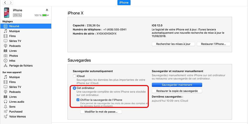 sauvegarde iPhone avec iTunes
