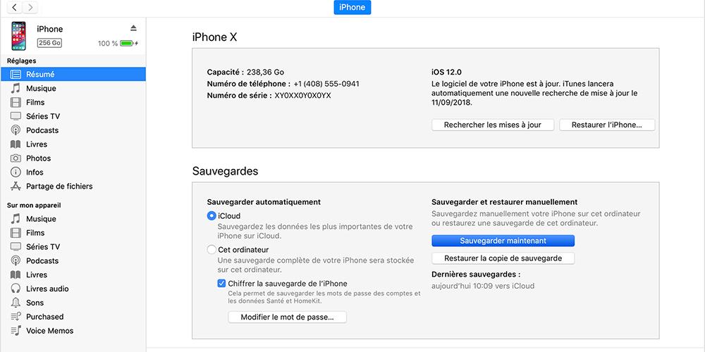 sauvegarder les données iPhone ou iPad avec iTunes