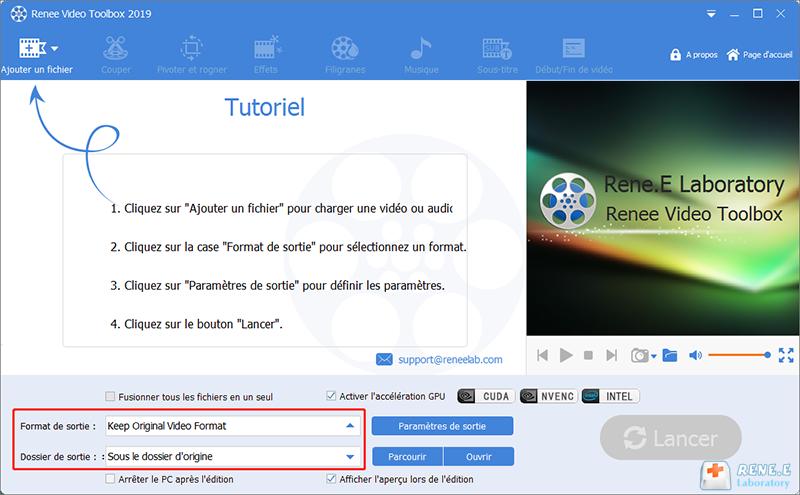 définir le format et le dossier de sortie pour la vidéo convertie