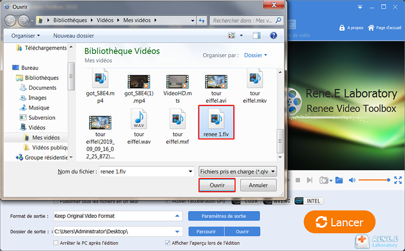 charger la vidéo en FLV