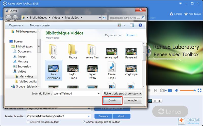 choisir la vidéo MP4 que vous voulez ouvrir