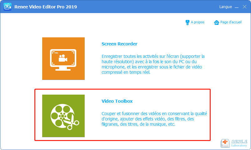 sélectionner la fonction Video ToolBox