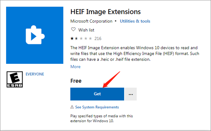 ajouter l'extension d'image HEIF