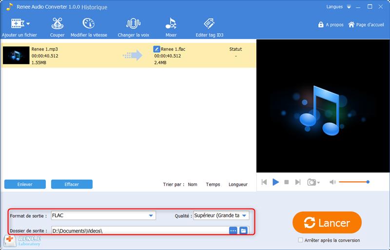 sélectionner le format de sortie et la qualité sonore