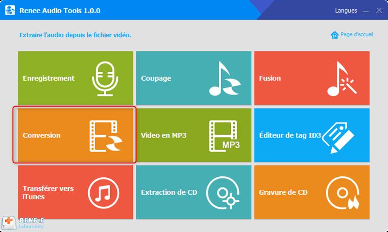 convertir le fichier au format FLAC avec la fonction de Conversion de Renee Audio Tools