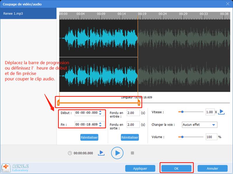 couper le clip audio que vous désirez
