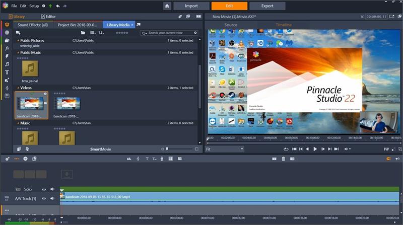 fusionner des vidéos avec PinnacleStudio
