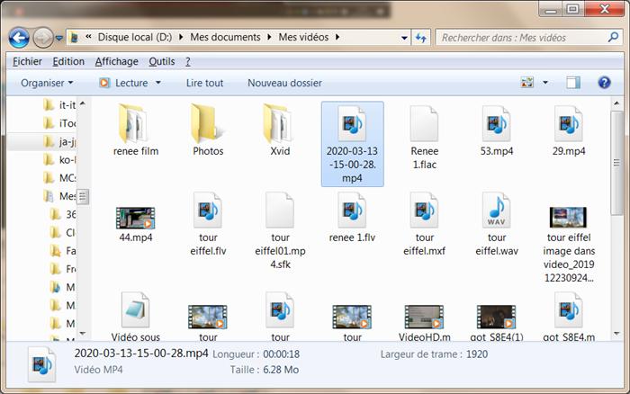 Trouvez le fichier dans le dossier défini pour l'exporter