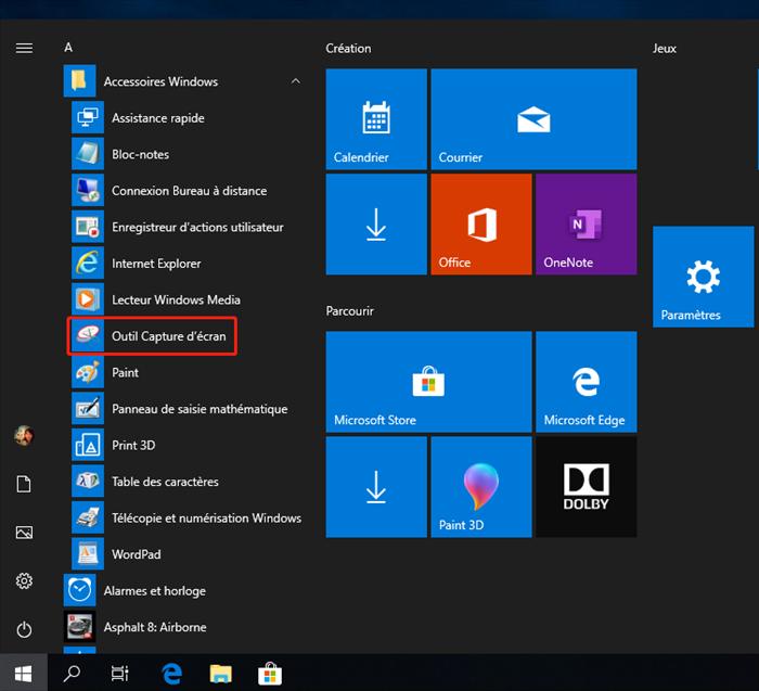 l'outil capture d'écran de Windows