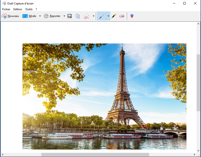 capturer l'image avec l'outil de capture Windows