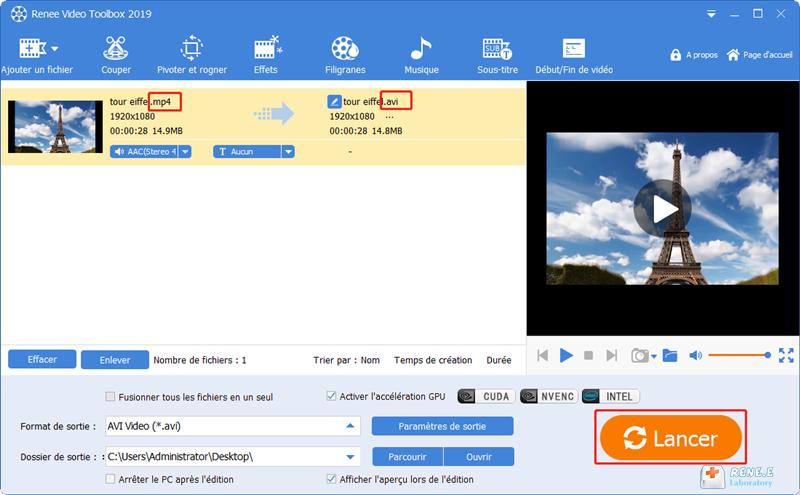 convertir la vidéo MP4 en AVI avec succès