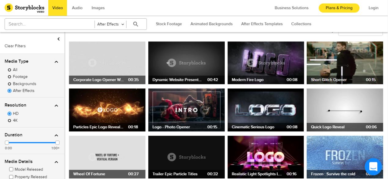 le site de matériel d'intro YouTube storyblocks