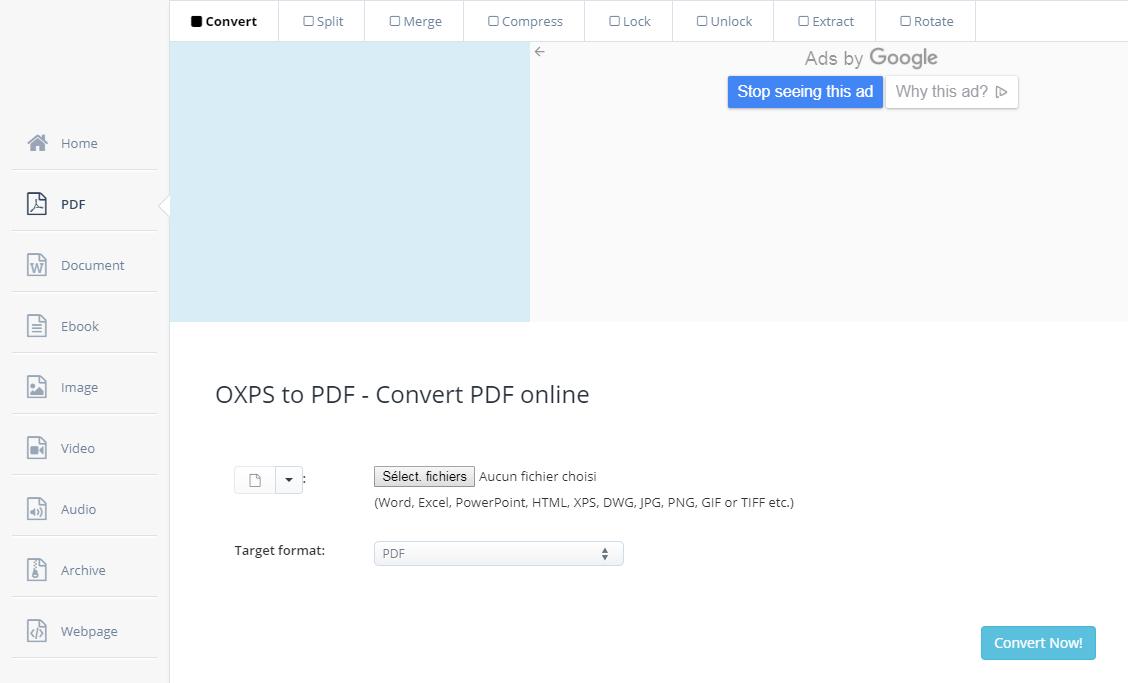 site aconvert pour convertir le fichier OXPS en PDF