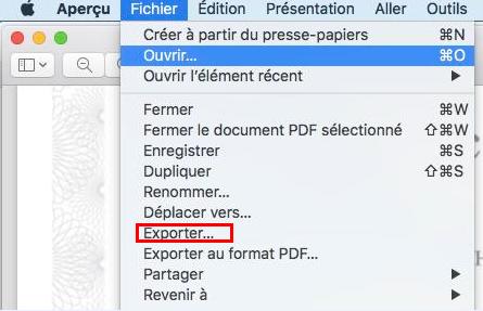 ouvrir le fichier PDF avec Aperçu de Mac