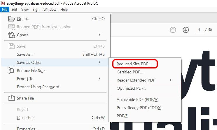 compresser le fichier PDF avec Acrobat