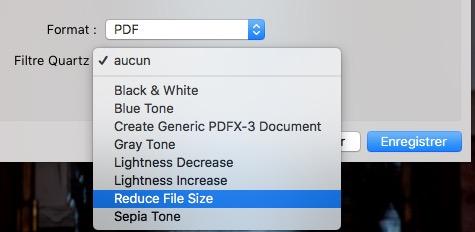 réduire la taille du fichier PDF avec Aperçu Mac