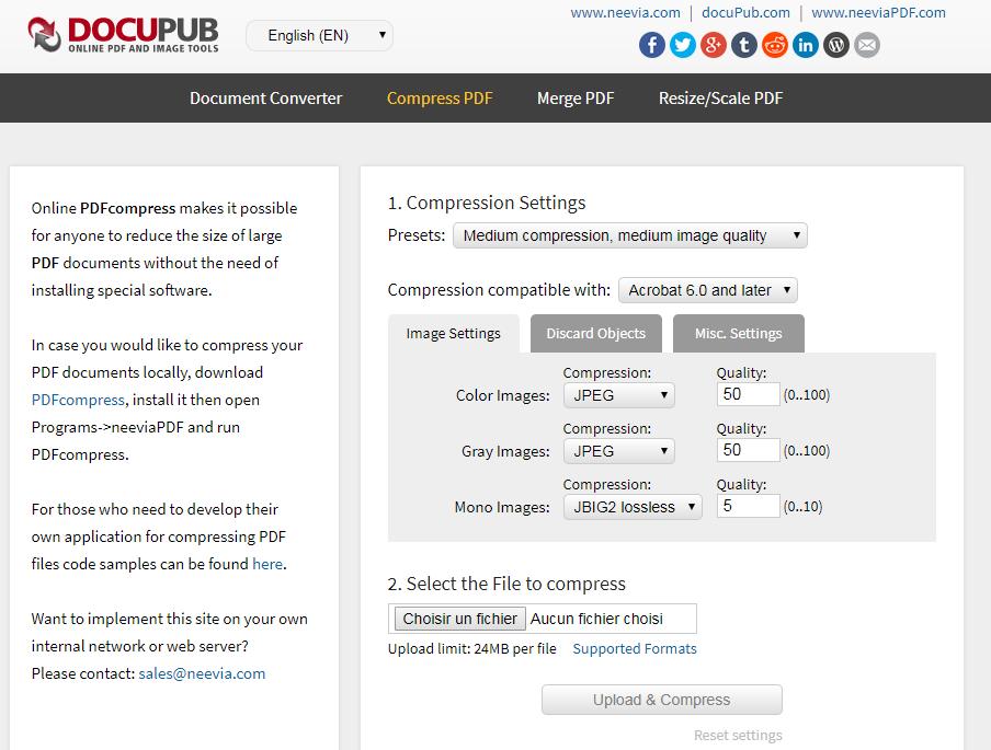 compresser le fichier PDF avec Docupub