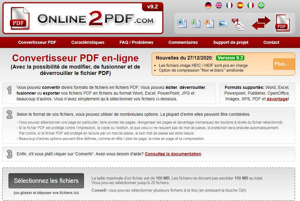 compresser le fichier PDF avec Online2PDF